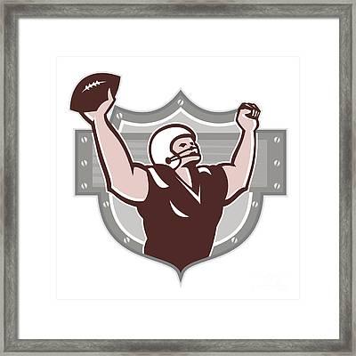 American Football Receiver Touchdown Retro Framed Print