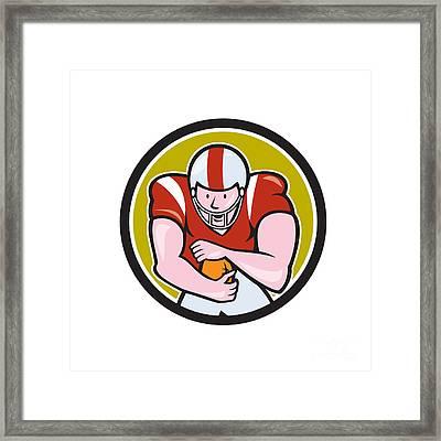 American Football Running Back Circle Cartoon Framed Print