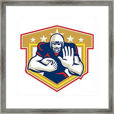 American Football Running Back Fending Shield Framed Print by Aloysius Patrimonio