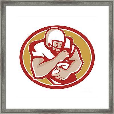 American Football Running Back Oval Retro Framed Print