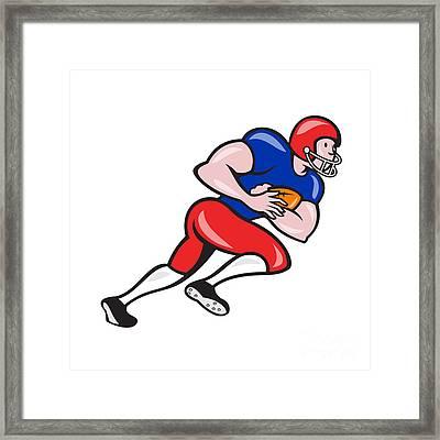 American Football Running Back Rushing Framed Print by Aloysius Patrimonio