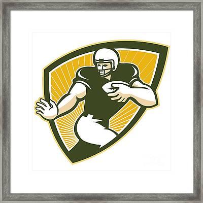 American Football Running Back Shield Framed Print