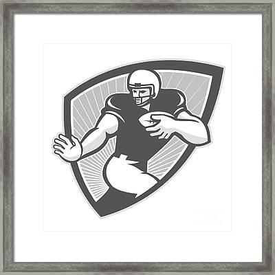 American Football Running Back Shield Grayscale Framed Print