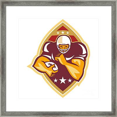 American Football Running Back Star Ball Framed Print by Aloysius Patrimonio