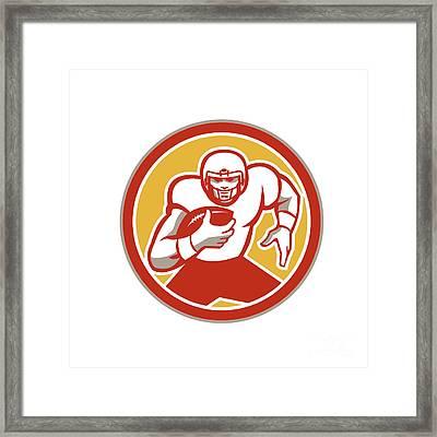 American Football Running Ball Circle Retro Framed Print