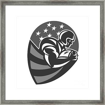 American Football Running With Ball Grayscale Framed Print