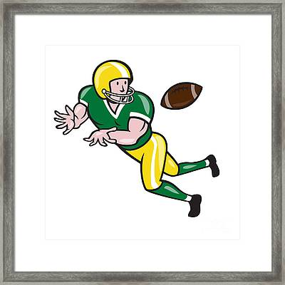 American Football Wide Receiver Catch Ball Cartoon Framed Print