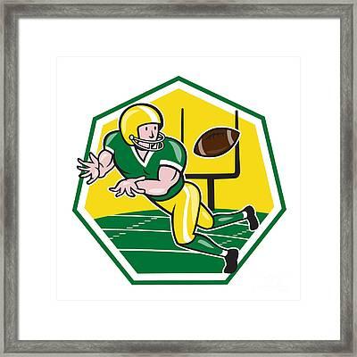 American Football Wide Receiver Catching Ball Cartoon Framed Print