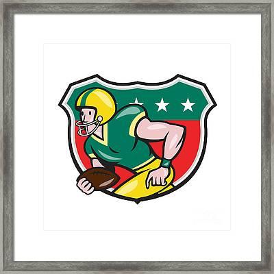 American Football Wide Receiver Running Ball Shield Framed Print by Aloysius Patrimonio