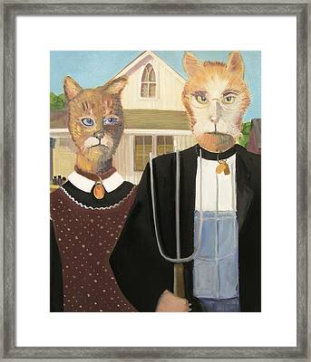 American Gothic Cat Framed Print by G Kitty Hansen