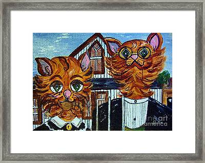Framed Print featuring the painting American Gothic Cats - A Parody by Eloise Schneider