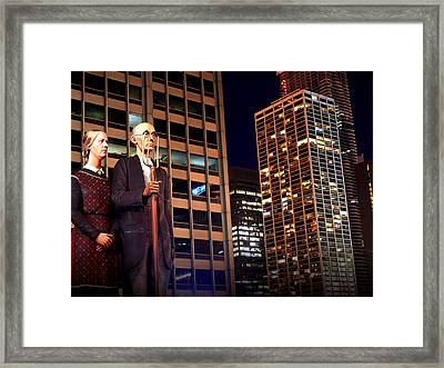 American Gothic In Chicago Framed Print
