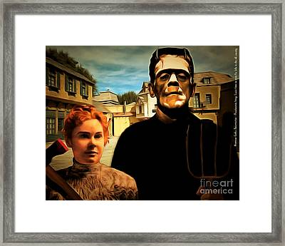 American Gothic Resurrection Frank Brings Lizzie Home To Meet His Folks In The Old Country With Text Framed Print by Wingsdomain Art and Photography