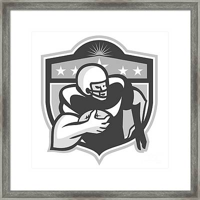 American Gridiron Wide Receiver Running Grayscale Framed Print