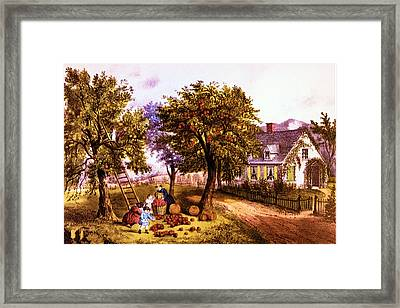 American Homestead Autumn Framed Print by Currier and Ives