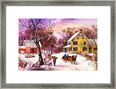 American Homestead Winter Framed Print by Currier and Ives