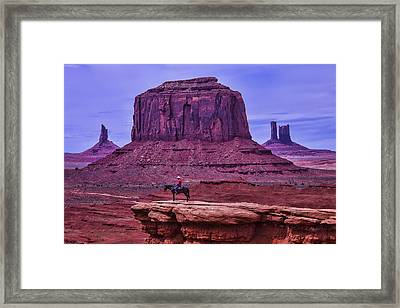 American Indian At Over Look Framed Print by Garry Gay