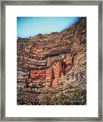 American Indian Cliff Dwelling  ... Framed Print by Chuck Caramella