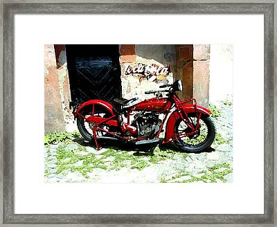 American Indian   Indian Motorcycle  Framed Print by Iconic Images Art Gallery David Pucciarelli