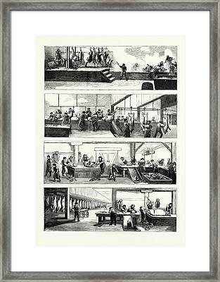 American Industry And Commerce, Hog-slaughtering Framed Print by American School