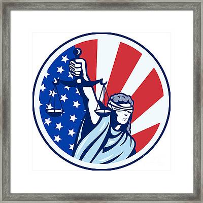 American Lady Holding Scales Of Justice Flag Retro Framed Print by Aloysius Patrimonio
