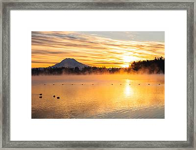American Lake Misty Sunrise Framed Print