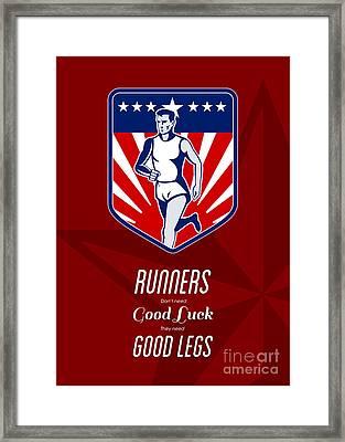 American Marathon Runner Good Legs Poster Framed Print by Aloysius Patrimonio
