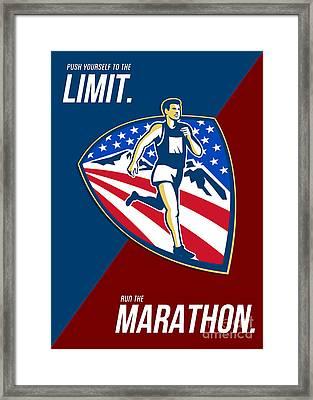 American Marathon Runner Push Limits Retro Poster Framed Print by Aloysius Patrimonio
