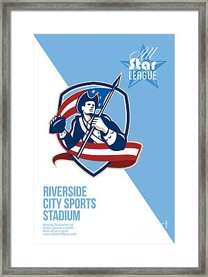 American Patriot Football All Star League Poster Framed Print by Aloysius Patrimonio
