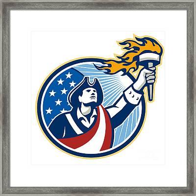 American Patriot Holding Torch Stars Stripes Flag Framed Print