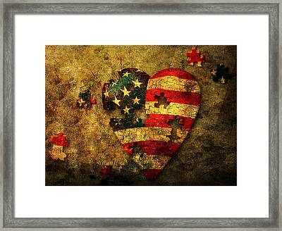 Framed Print featuring the digital art American Puzzle by Bruce Rolff