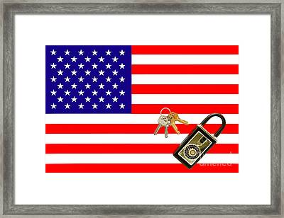 American Real Estate With Keys Lock Box And American Flag Framed Print by Olivier Le Queinec