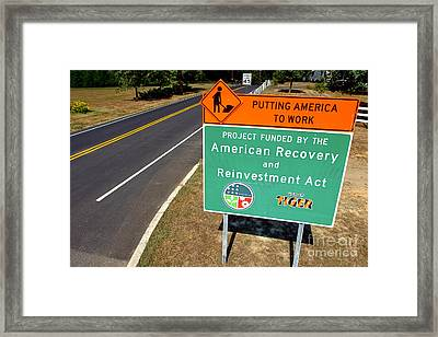 American Recovery And Reinvestment Act Road Sign Framed Print by Olivier Le Queinec