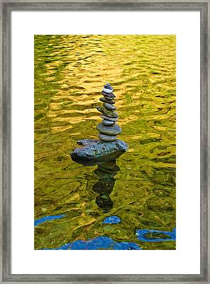 Framed Print featuring the photograph American River Rock Art by Sherri Meyer