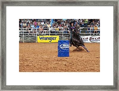 American Rodeo Female Barrel Racer White Star Horse I Framed Print by Sally Rockefeller