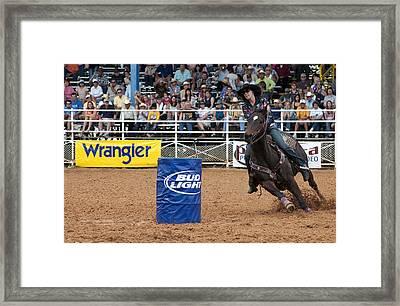 American Rodeo Female Barrel Racer White Star Horse IIi Framed Print by Sally Rockefeller