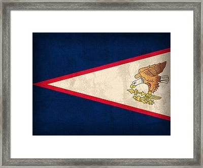 American Samoa Flag Vintage Distressed Finish Framed Print by Design Turnpike