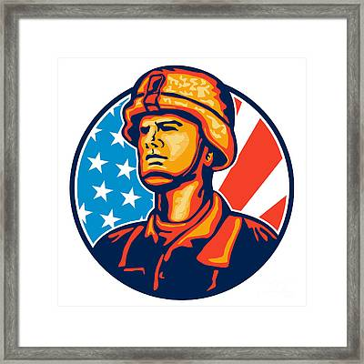American Serviceman Soldier Flag Retro Framed Print