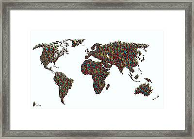 American Sign Language ... I Love You World Map  Framed Print by Eloise Schneider