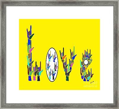 American Sign Language Love Hands Framed Print by Eloise Schneider