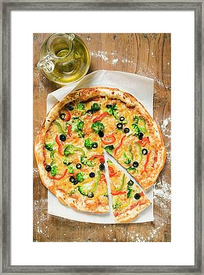 American-style Vegetable Pizza, A Slice Cut, Olive Oil Framed Print
