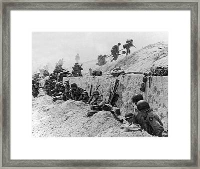 American Troops At Utah Beach Framed Print