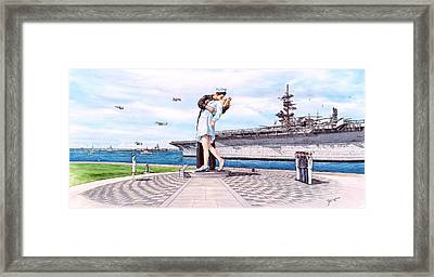 American Victory Monument Framed Print by John Yato