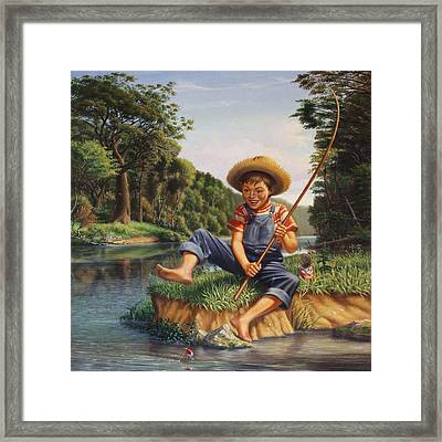 Americana - Country Boy Fishing In River Landscape - Square Format Image Framed Print by Walt Curlee