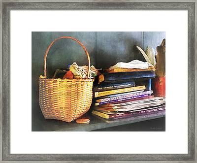 Americana - Books Basket And Quills Framed Print