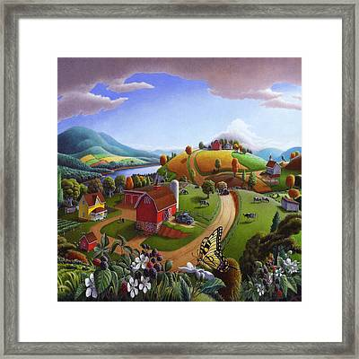 Americana Decor - Blackberry Patch Country Farm Life Landscape - Square Format Framed Print