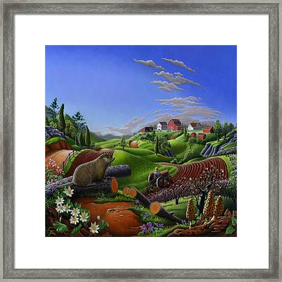 Americana Decor - Springtime On The Farm Country Life Landscape - Square Format Framed Print by Walt Curlee