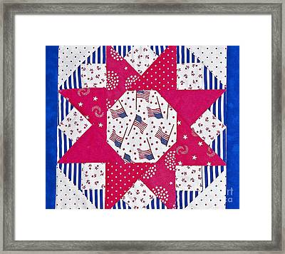 Americana Quilt Block Design Art Prints Framed Print by Valerie Garner