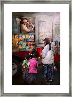 Americana - Vendor - Serving Chocolate Ice Cream Framed Print by Mike Savad