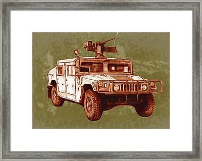 American's New Army Car - Hummer Stylised Art Sketch Poster Framed Print
